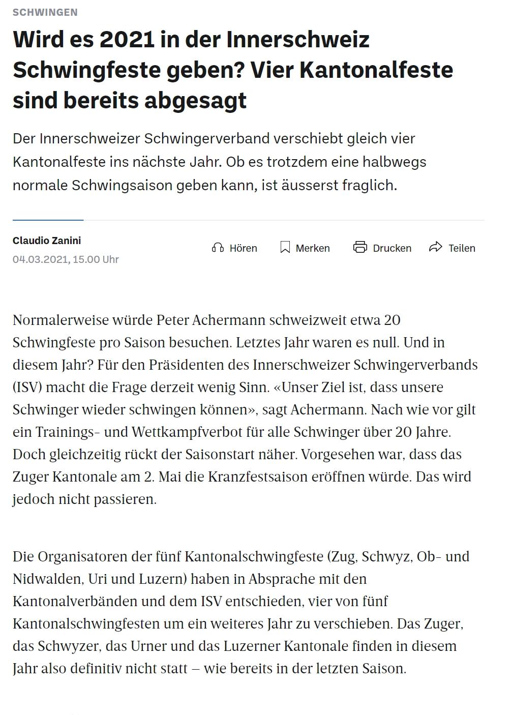 Schwingen_ Vier Innerschweizer Kantonale auf 2022 verschoben