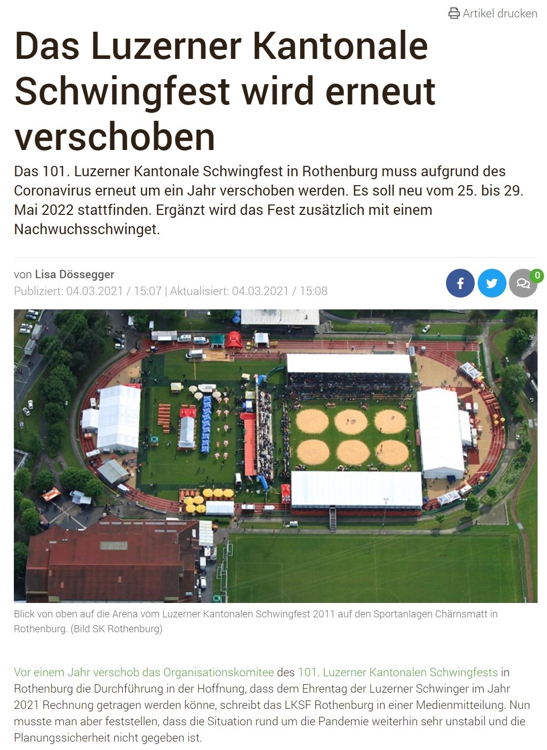 Luzerner Kantonales Schwingfest ist verschoben _ BauernZeitung